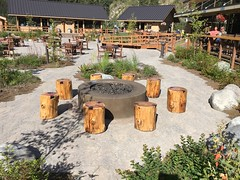 McKinley Chalet Square - HBM! (karma (Karen)) Tags: mckinleypark alaska mckinleychalet square tables chairs firepits treeseats benches benchmonday hbm iphone