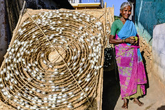 The Silk Lady with a Potato for dinner (Anoop Negi) Tags: silk sericulture cocoon farmer portrait india karnataka kanakpura bangalore bengaluru anoop negi photo photography