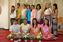 Celebrating the inauguration of a spirit house or san phra phum in traditional Thai costumes (UweBKK ( 77 on )) Tags: costumes girls party woman house man men girl fashion thailand women san asia spirit bangkok sony traditional clothes blessing celebration thai southeast alpha dslr inauguration celebrating phra 550 phum sanphraphum