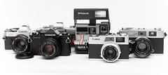 Collection (sorenrosenberg) Tags: auto camera slr classic film analog 35mm canon vintage lens polaroid 50mm minolta ae1 spirit rangefinder collection 600 porn fixed konica f2 28 pancake 40mm f18 canonet f28 45mm s2 chinon f19 f17 cm4 srt100x