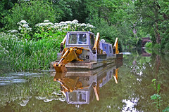 Dredging Barge on Wey & Arun Canal (Sharon Emma Photography) Tags: uk england reflection nature water sussex canal nikon rust westsussex rusty rusted barge naturalworld digger dredging loxwood d3100