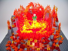 LEGO - Marvel/SuperHeroes - Phoenix heats up... (Slayerdread) Tags: woman hot fire anger rage redhead flame xmen heat heroine minifig sdcc jeangrey