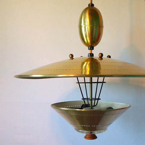 UFO PENDANT LIGHTING Vintage Atomic Flying Saucer Pull Down Ceiling Light Fixture Retro 50s 60s Mid Century Modern Space Age Googie Style / Aces Finds Vintage