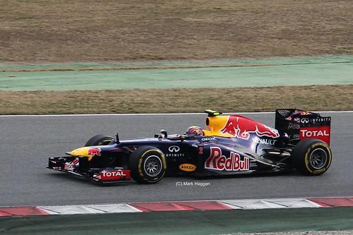 Mark Webber in his Red Bull Racing F1 car at Formula One Winter Testing, Circuit de Catalunya, March 2012