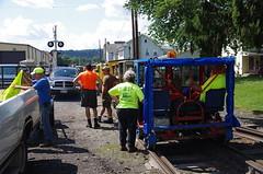 Waiting Their Turn - IMGP6454 (geepstir) Tags: car reading pennsylvania rail pa shamokin speeder sunbury narcoa