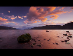 Loch Ness - Dores (Michael Carver Photography) Tags: pink sunset rock clouds lens photography scotland highlands nikon long exposure scottish loch ness polarizing d3100