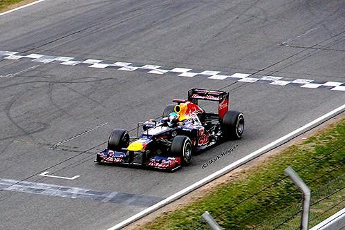 Sebastian Vettel in his Red Bull Racing car in Formula One Winter Testing, Circuit de Catalunya, March 2012