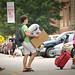 Student gets a little help from his brother and mother as he moves into his residence hall Friday afternoon.