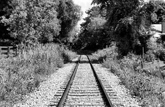 where are you taking me today ?... (jose_abc) Tags: railroad trees summer vacation cloud sun white canada black tree clouds train canon vacances soleil eau solitude noir loneliness quebec rail august qubec lonely t nuages blanc aout seul