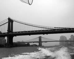 Manhattan and Brooklyn Bridges, East River, New York City (jag9889) Tags: city nyc bridge bw ny newyork brooklyn river puente crossing suspension manhattan tracks bridges landmark dot bin ponte brooklynbridge manhattanbridge eastriver pont brücke waterway 2012 1909 1883 departmentoftransportation nycta twobridges metropolitantransportationauthority nycdot k130 k131 bridgeidentificationnumber jag9889 2240019 bin2240019 2240027 2240028 bin2240028 bin2240027 y2012