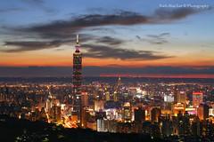 Taipei 101 Skyscraper at Sunset, Jiuwu Peak, Taipei City  August 19, 2012 (*Yueh-Hua 2016) Tags: camera sunset building tower architecture night skyscraper canon buildings eos fine taiwan sigma 101  5d taipei taipei101 dslr   70300mm       101    canoneos5d    horizontalphotograph markins    sigma70300mmf456apodgmacro  taipei101skyscraper taipei101internationalfinancialcenter sirui tigerpeak   jiuwupeak photoclam ballheads n2204 pc44ns siruin2204 pc69up3 pg50cameraplate 2012august