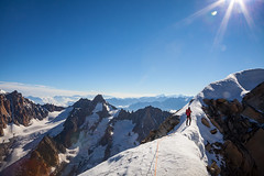 Traverse of Les Courtes (Ulrik Hasemann) Tags: summer sun mountain snow france mountains alps canon outdoor altitude july climbing alpine mountaineering environment climber dslr chamonix mountian frankrig 2012 alpinsim 5dii