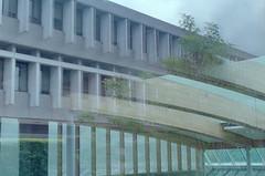 Saywell Hall Reflections 2 (jvde) Tags: film nikon sfu burnaby coolscan nikonf601 3570mmf3345nikkor