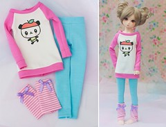 slim MSD Pandapple Outfit Set (Cyristine) Tags: pink blue cute ball clothing doll slim pastel kawaii bjd msd jointed unoa pandapple minifee
