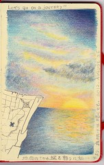 2012_08_25_journey_01 (blue_belta) Tags: blue sunset sea art moleskine sunrise sketch map drawing journey    coloredpencil         colordpencil