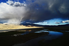 Clouds evolutions over tsomoriri lake (Bernard l Hermite) Tags: blue india mountain lake snow green rain weather clouds river rainbow day desert border tibet snowfall leh ladakh tsomoriri