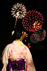 Young woman watching fireworks show (Apricot Cafe) Tags: canonef1635mmf28liiusm japan katsushika katsushikafireworks shibamata tokyo colors festival fireworks night outdoors standing summer traditionalclothes traditionalfestival woman yukata katsushikaku tkyto jp