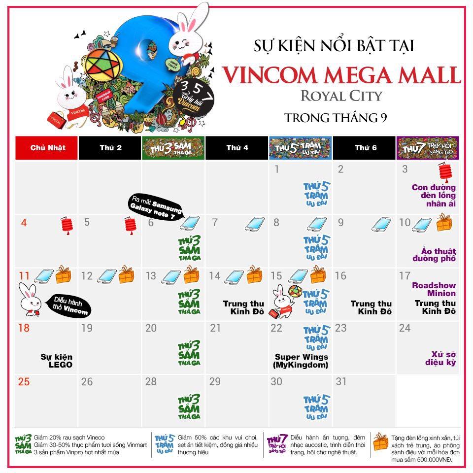 Tháng 9 này, có gì chờ bạn ở Vincom Mega Mall Royal City