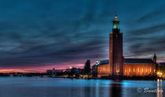 City Hall - Stockholm (stevebfotos) Tags: night cityhall river riddarfjärden photomatix stockholm sweden longexposure hdr movingwater stockholmcounty se