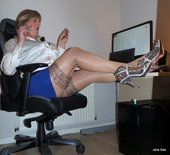 15 Fright mare (janegeetgirl2) Tags: transvestite crossdresser crossdressing tgirl tv ts heels sheer shine patterned tights office blue pa blouse secretary satin mini short skirt stilettos high jane gee