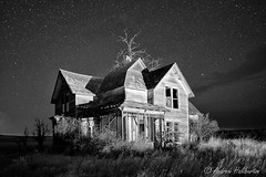Abandoned Farmhouse 1 (AndrewHaliburton.com) Tags: abandoned andrewhaliburton astrolandscape astronomy astrophotography bw blackandwhite creepiestplaces derelict dilapidated earthandspace farmhouse goldendale haunted imagination lightpainting longexposure meteor midnight milkyway nwafterdark night nightphotography nightshoot nightsky nikonmfnikkor28mmf2ai noctography nocturnes rrsbd700l rrsbh55pcl rrstvc33 reallyrightstuff scariestplaces shootingstar star starry timeexposure urbanlight washington usa
