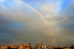 A rainbow to kick start the day (ensoleillement91) Tags: sky sunshine sun skylovers skyporn sunset dusk india cloud clouds city cloudporn nature nofilter natur universe landscape weather rain rays urban blue buildings hyderabad rainbow morning