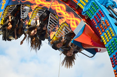 letting your hair down, CNE style (mcfcrandall) Tags: fireball ride midway theex cne canadiannationalexhibition toronto august girls youngwomen riding upsidedown longhair fun screaming