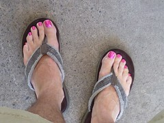 Whos says a guy can't wear pink? (toepaintguy) Tags: male guy men man masculine boy nail nails fingernail fingernails toenail toenails toe foot feet sandal sandals polish lacquer gloss glossy shine shiny sexy fun daring allure gorgeous glitter pure ice free fall pink shimmer incredible audacious