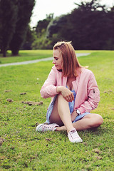 SHEIN LOOK with pink jacket by Marta S., 23 year old girl from Warsaw, Poland (9lookbook.com) Tags: lacedress perfectdress sheinside stripeddress summer