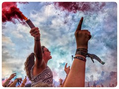 Reading (faranorclarke) Tags: colourful smoke colour fans hdr snapseed sky flare festival crowd iphone 6s readingfestival reading