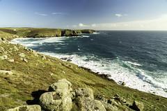 Nanjizal Headland, Cornwall (Dixie Deane) Tags: distagont2821ze nanjizal seacaves landsend cornwall waves surf cliffs ocean sea headland canon5dmkiii zeiss gitzotripods