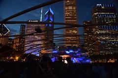 Millennium Park (marensr) Tags: millennium park architecture chicago skyline night bandshell jazzfestival blue city lights gehry pritzker pavillion