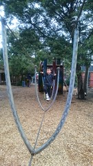 Isaac at the start of the rope bridge at Skinners Adventure Playground, South Melbourne (avlxyz) Tags: fb5 isaac grumpy