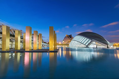 Valencia, City of Arts and Sciences II (Dev EBM) Tags: canon 70d eos efs1018isstm spain valencia cac cityofartsandsciences ciudaddelasartesylasciencias santiagocalatrava hemisferic dusk evening sky city bluehour architecture pond water reflection lights espaa hdr
