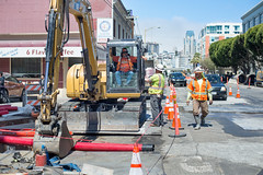 160816_1108_4thStSTS (Central Subway) Tags: 4thstreet bluxomealley centralsubway latteexpress muni sf sfmta sts sanfrancisco sanfranciscomunicipalrailway sanfranciscomunicipaltransportationagency soma tthirdline conduit construction excavator extension installation lightrail phase2 project southofmarket surfacetrackwork trench trenching utilitywork