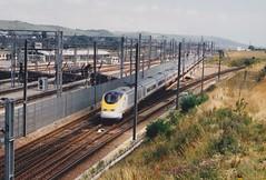 373205 Dollands Moor 14/7/1995 (Martin Coles) Tags: trains train rail railways railway eurostar class373 dollandsmoor 373205 3205