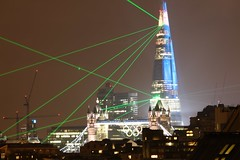 The Shard laser show sneak preview - 11 (as098_uk) Tags: show city longexposure light urban london tower glass skyline architecture modern night skyscraper towerbridge buildings lights long exposure colours unitedkingdom landmark icon slowshutter laser tall olympics architects shard renzopiano wapping london2012 olympicrings theshard 310m lasershard tallestbuildingintheeu