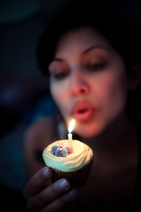 Londa @ 32 (iFlook) Tags: birthday portrait wisconsin nikon candle cupcake madison glutenfree londa d5000 bloombakeshop