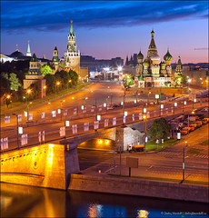 Spassky tower and St. Basil's Cathedral in Red Square (Dmitry Mordolff) Tags: lighting old travel bridge light red summer sky black building tower history tourism church beautiful st wall museum architecture night dark square outdoors site place cathedral symbol russia moscow basilica traditional famous capital cities culture landmark illuminated international national dome russian majestic kremlin basils spasskaya