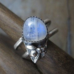 Moonstone Bee Ring (AshleighAnnette) Tags: blue white silver fire flash band double bee pear sterling moonstone cabochon