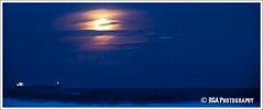 Full Moon over the water (RGA Photography) Tags: cloud moon tower beach water canon shark rocks waves moonrise dslr 5dmkii