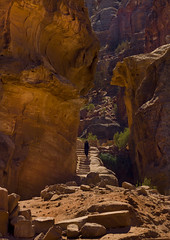 Woman Climbing Ancient Stairs In Petra, Jordan (Eric Lafforgue) Tags: colour history rock stone outdoors photography ancient stair day steps middleeast palace carving unescoworldheritagesite jordan step arabia oneperson jordanien historicalsite jordanie jordania rockformation 088 nabataean  nabatean giordania traveldestinations onewomanonly  hashemitekingdomofjordan placeofinterest oldruin  jordani rdn ancientcivilisation alurdun unrecognisableperson jordnia petrajordan  yordania colourpicture  iordania   jordnsko     traditionallymiddleeastern archaeologicalcity