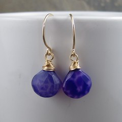 Purple Chalcedony Briolette Earrings (AshleighAnnette) Tags: gold beads juicy wire purple heart bright violet plum wrapped drop filled faceted earrings simple dangle plump hooks banded