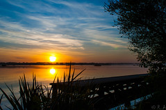 Sunrise (r0m@in) Tags: sunrise mirror eau lac reflet gleam matin morn lacblanc seignosse whitelake levdesoleil