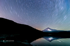 Trillium Lake Star Trails (erika eve) Tags: longexposure lake water night oregon reflections landscape lights nikon mthood lakeshore nightsky startrails timberline trilliumlake d4 snowcappedmountain spinningstars erikaplummerphotography wwwphotographyatplaycom