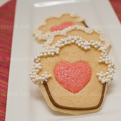 Cupcake Cookie with Heart Centers (sugarkissed.net (Janine)) Tags: cookies hearts cupcakes heart pearls cupcake icing sugarcookies royalicing discodust