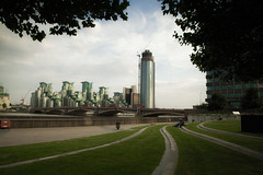 Park Life (Umbreen Hafeez) Tags: life park city uk bridge england people thames architecture clouds buildings river europe day cityscape gb tall battersea vauxhall loncon