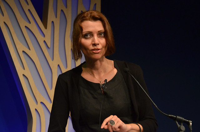 Elif Shafak on stage at the Edinburgh World Writers' Conference c Pascal Saez