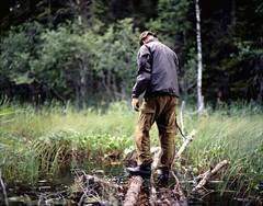 (Benjamin Skanke) Tags: bridge lake man 120 film analog vintage walking log asahi pentax takumar kodak slide medium format 24 100 28 6x7 epp expired ektachrome e6 canoscan 67 120mm 105mm