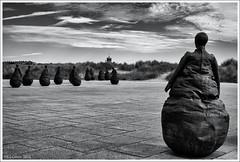 Conversation Piece (Seven_Wishes) Tags: uk blackandwhite sculpture southshields littlehaven newcastleupontyne weebles conversationpiece tynewear juanmuñoz bronzefigures